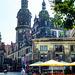 Dresden. Cafe 'Schinkelwache' vor dem Residenzschloss mit dem Hausmannsturm. . ©UdoSm