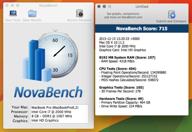 my MacBook Pro mid.2010 novabench 2015-12-15