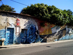 Mural with maritime themes.