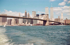 Brooklyn Bridge from the East River (Scan from June 1981)