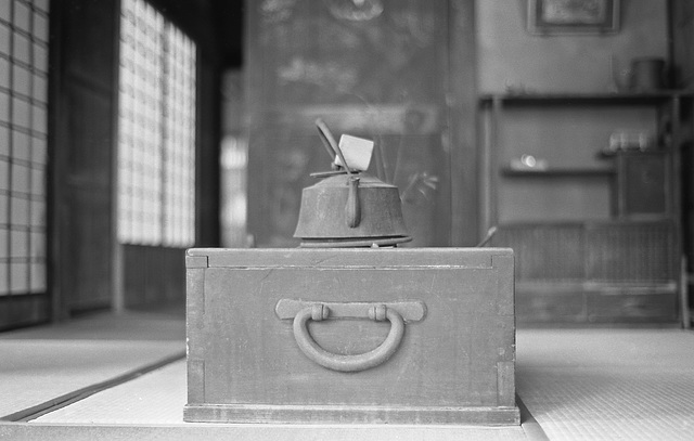 Kettle on the hibachi  in a tatami room
