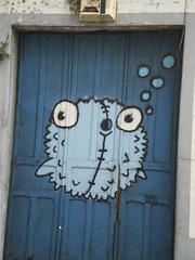 Painted on old door.