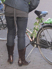 Cowgirl Patent Leather Black Boots & Flowered bike