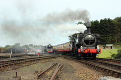 """GWR 5700 class 0-6-0PT no 7714 passes BR 9F 2-10-0 - no  92203 """"Black Prince"""" while steaming into   Weybourne  ~ 3rd September 2017"""