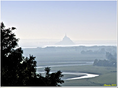 Mont St Michel silhouette in the distance