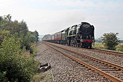 Bulleid Merchant Navy class 35018 BRITISH INDIA LINE at Robins Bottom Plantation Crossing with1Z24 06.00 Carnforth - Scarborough The Scarborough Spa Express 9th Septemder 2021. (steam from York)