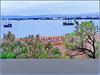 Hammamet : il golfo della città visto dalla fortezza - esposto a levante è protetto dai venti del nord e  anche dallo scirocco africano