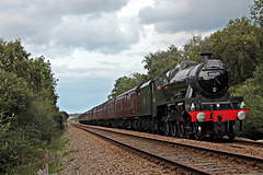 Stanier LMS class 6P Jubilee 45627 SIERRA LEONE (45699) at Robins Bottom Plantation Crossing with 1Z32 15.52 Scarborough - Liverpool The Coast to Coast Express 11th September 2021. (steam as far as Milford Loop)