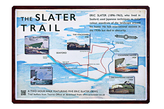 The Slater Trail plaque on South Hill Barn - Seaford Head - 20.4.2016