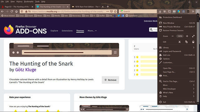 """""""The Hunting of the Snark"""" Firefox theme"""