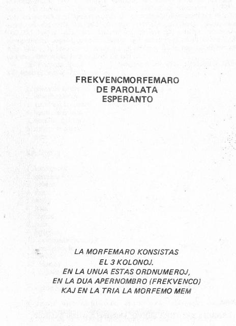 Tišlar, Frekvencmorfemaro 1982