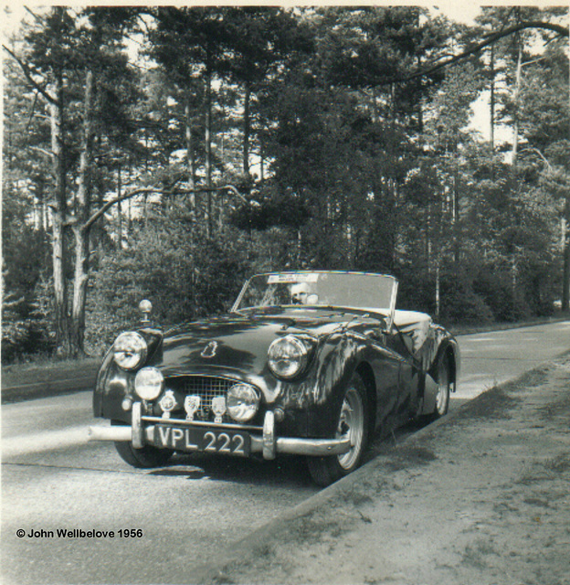 Triumph TR2 1954 in Oxshott Woods Surrey Opposites - Old