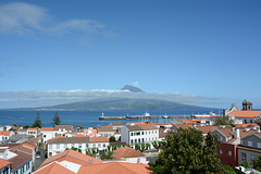 Azores, The Volcano of Pico, View from Horta Town on the Island of Faial