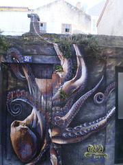 Octopus on ruins of house.