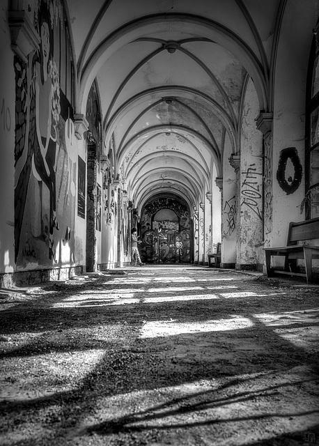 A corridor with a view