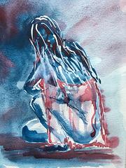 Encre de chine : Femme Bleue