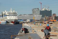 Im Hamburger Hafen: Rege Bautätigkeit bei laufendem Betrieb