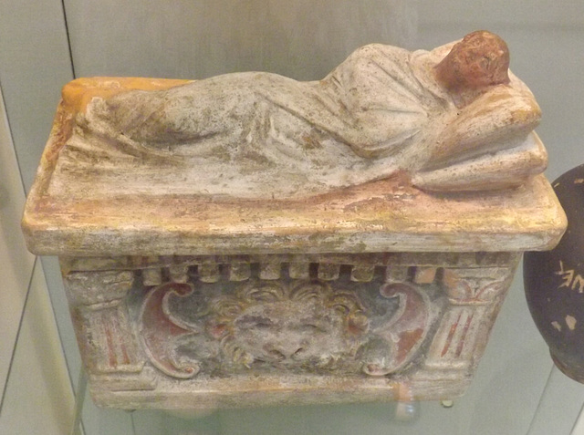 Painted Terracotta Cinerary Urn with a Sleeping Woman on the Lid in the British Museum, May 2014