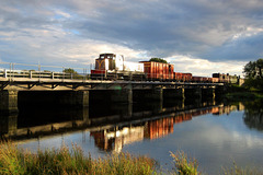 Evening freight train from Porthmadog crosses Pont Croesor
