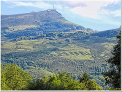 "Land art: ""LGV - NON"" - seen on the slope of the Rhune mountain"