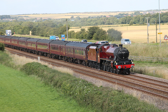 LMS class 6P Jubilee 45699 GALATEA at Spital Bridge,Seamer with 1Z23 The Scarborough Spa Express Scarborough - Carnforth 13th JULY 2017 (steam has far as York)