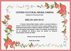 Diploma Mãe do Ano 2018 - Entregue a Maria Cristina Rego Collares Latgé
