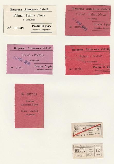 Mallorca (Majorca) bus tickets - Nov 1970