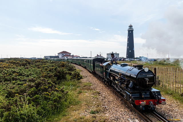 Romney, Hythe & Dymchurch Railway (RH&DR) in front of the High Light Tower (4*PiP)