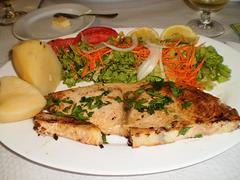 Grilled swordfish.
