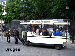 Bruges horse bus with caption