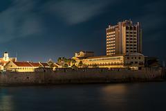 abandoned Hotel Plaza at night