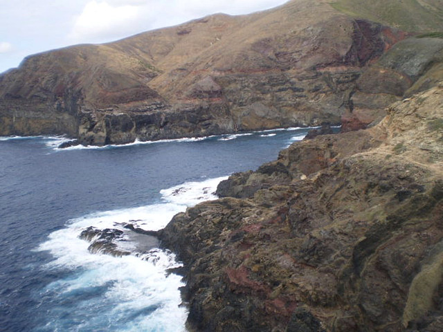Rugged volcanic coast.