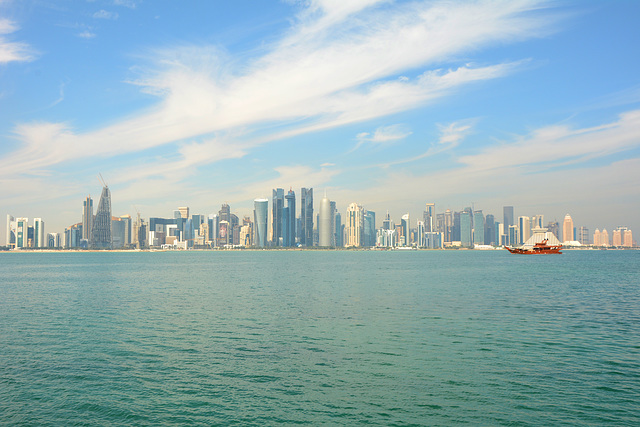 Qatar, Doha, Skyline on the Persian Gulf