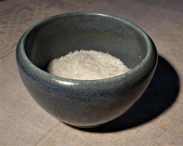 blue salt dish