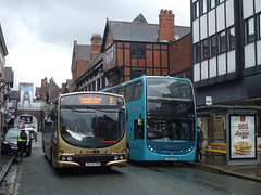 DSCF9609 GHA Coaches BA58 GHA and Arriva Cymru J300 ABW (CX58 FZP) in Chester - 22 Jun 2015