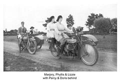 Percy, Doris & Marjory, Phyllis & Lizzie on motorcycles c1925