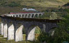The Highlands West Coast special leaving Glenfinnan viaduct