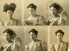 Woman in Five Poses with Hat, Magazine, and Parasol, ca. 1908 (Rearranged)