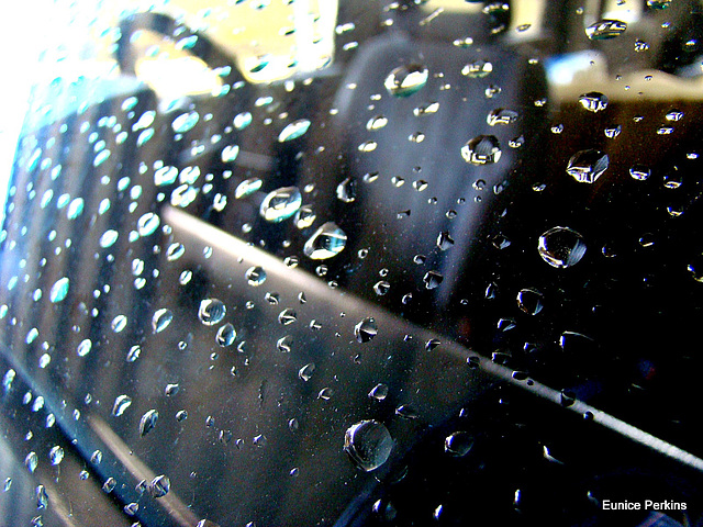 Raindrops on Windscreen.