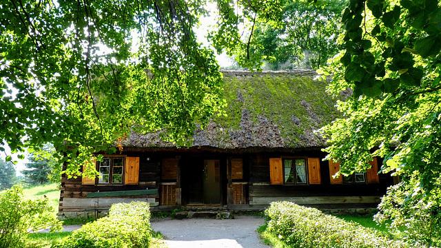Peasant's hut in skansen in Wdzydze Kiszewskie, Pomeranian Voivodeship