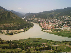 View to Mtskheta and rivers Kura and Aragvi.