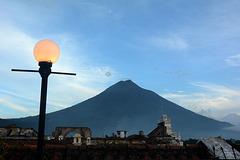 Evening over Antigua de Guatemala and Volcano of Agua
