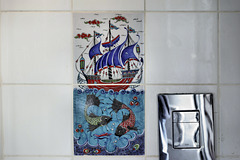 The Tiles on the Mens' Room Wall – Fattouche Restaurant, Sderot Ben Gurion, German Colony, Haifa, Israel