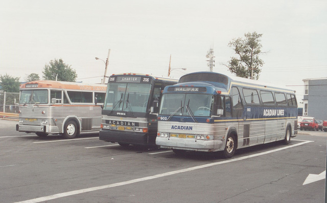 MacKenzie Bus Line 28 with Acadian Lines 206 and 902 - 9 Sep 1992 (Ref 176-14)