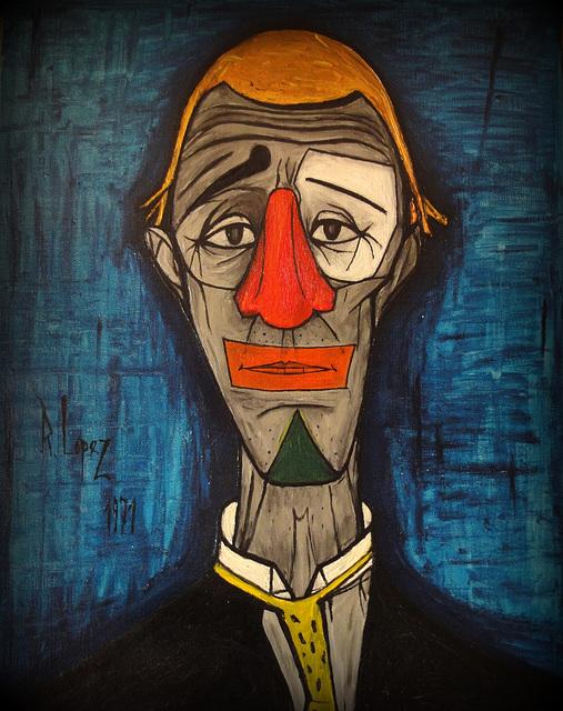 Ipernity Mes Peintures Une Copie En 1971 Du Clown De Bernard Buffet D Apres Une Carte Postale By Rol Photo