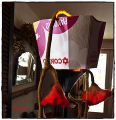 In Ermangelung eines Lampenschirms geht es auch mit einem Pappkarton ... oder ... Die Büchse der Pandora (danke F.A.)