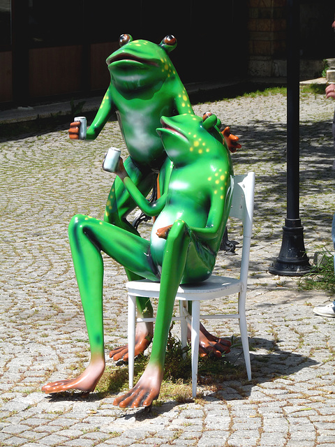 Didim- Frogs Relaxing Outside a Cafe