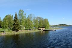 Finland, Oulujoki River, Turkansaari Island Pier