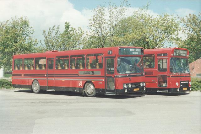 Sechers Rutebiler 4 (JP 94 487) and 12 (JH 91 579) at Knebel - May or June 1988 (Ref: 64-27)
