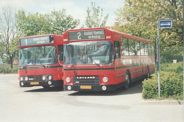 Sechers Rutebiler 4 (JP 94 487) and 12 (JH 91 579) at Knebel - 22 May 1988 (Ref: 64-28)